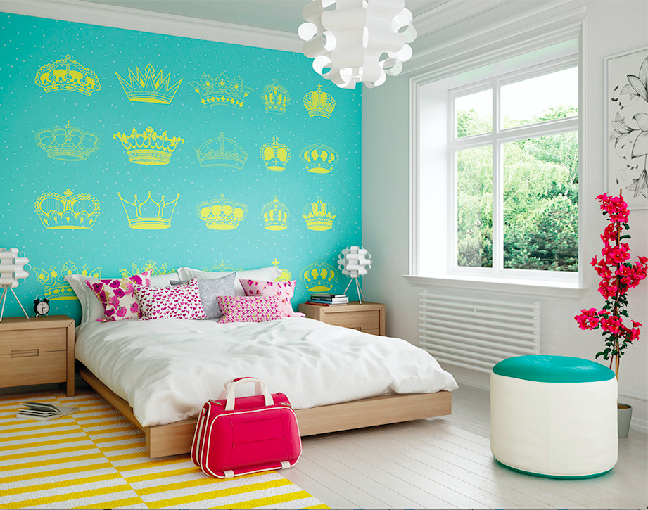 What fun this crowning glory wall mural design is with the variety of crowns and tiaras, fit for a queen. The colour contract of turquoise and yellow makes for a regal wall design.