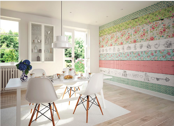 This Alice In Wonderland inspired Delight Wall Mural is so much fun with the floral patterns, red and white checkered pattern all on a pale wooden background.