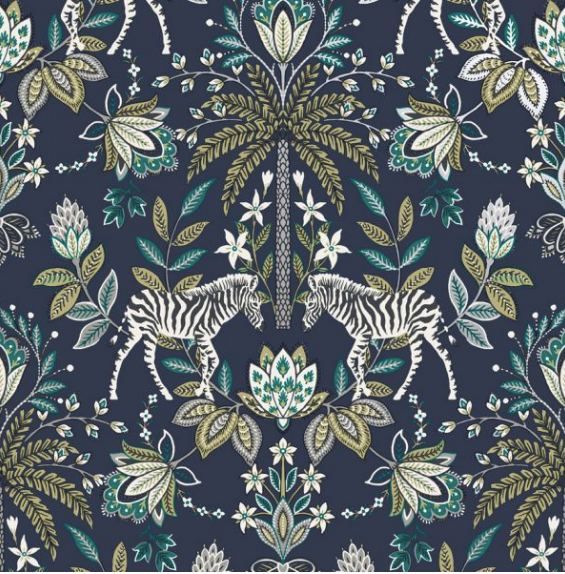 This wallpaper with a rich dark blue background and jacobean damask pattern with a pair of zebras and flowers and leaves is a fun addition to rooms such as living room, dining room, and kitchen.