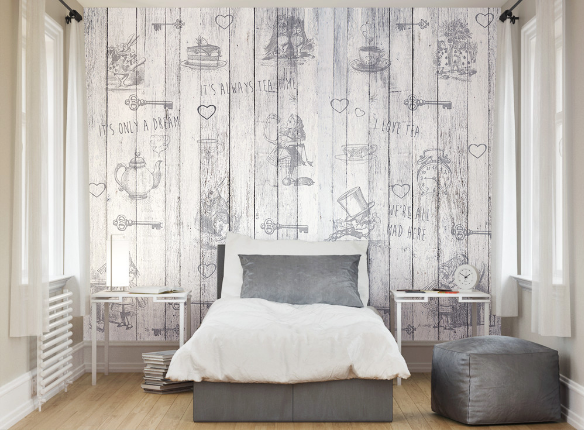 Combining characters and famous references from Alice's adventures against a vintage wood background, this wall mural is a delightful design, perfect for those of you wanting something with interest without colour.