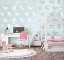 Iridescent Unicorns Teal Wallpaper