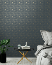 This art decor wallpaper design with overall ginkgo pattern is so elegantly and classy. Featured here in a navy blue and silver colour way.