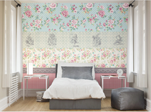 Rose Patterns and gingham combined in a clever manner with hints of the Alice In Wonderland theme make for a stunning floral Felicity Wall Mural design.