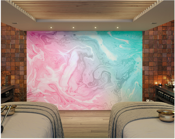 This flowing marble wall mural design symbolises movement with the flowing marble effect of soft pastel pink, greens, and white colours.