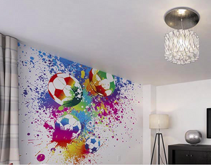 Colourful soccer balls smashing through coloured paint creating paint blotches makes a Football Wallpaper mural. Great choice for a gym or sports clubhouse.