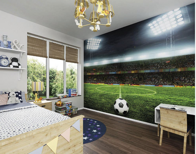 Perfect for football fanatics, this atmospheric wall mural features a roaring crowd, floodlit pitch and football placed ready to take the kick