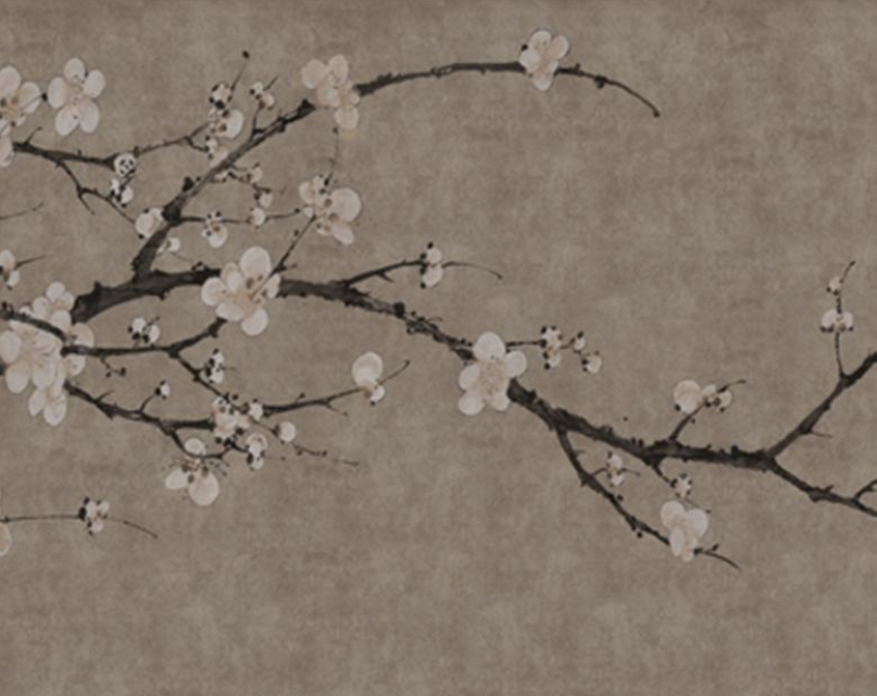This gorgeous Oriental Plum Blossom Wall Mural is a gorgeous design symbolizing perseverance, hope, and beauty. Perfect for a lounge, hallway, or study.