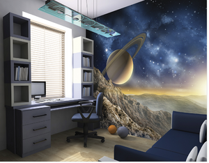 Transport your room to a planet in the far reaches of the universe with this galaxy wall mural.