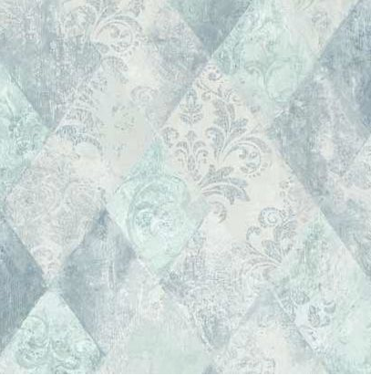 Geometric and Damask Wallpaper design in blue