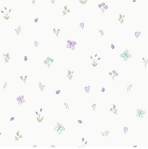 Soft purple butterflies and florals on white background.