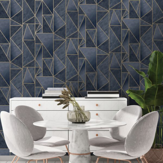 This navy blue and gold geometric print wallpaper design has texture and metallic lines which makes this a sophisticated yet trendy choice.