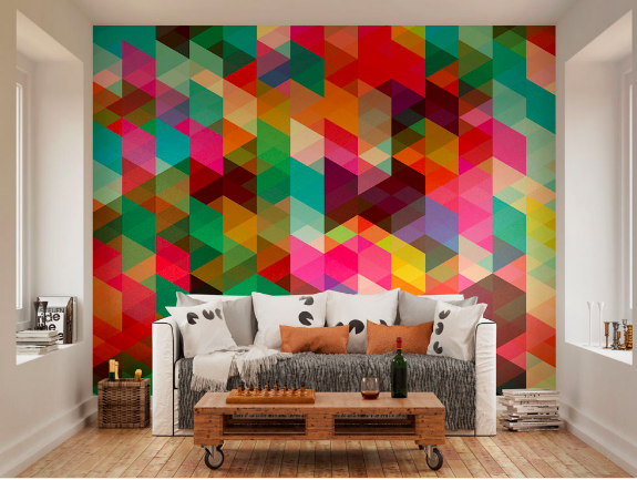 This colourful geometric wallpaper adds great dimension to any room with the triangle shapes and angles.