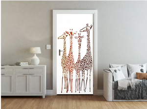 Giraffe fancify door mural