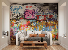Scibbles, scratched, and sprayed artwork makes this Graffiti wall mural a real feel for a graffiti filled space using bright colours and fonts.
