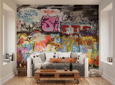 Colourful, cool and most definitely interesting, this wonderfully urban wall mural takes traditional street art and transports it directly into your interior.