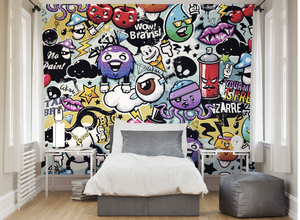 Colurful objects and words displayed in a cartoon like manner make up this funky graffiti monster wall mural.