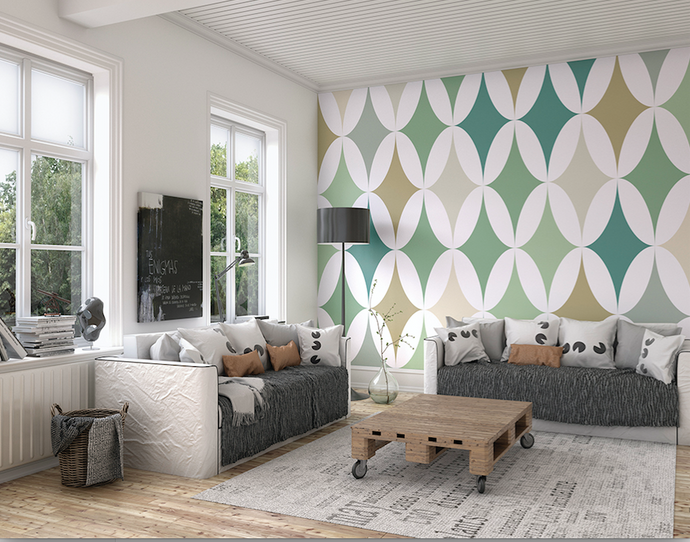 This green formation wall Mural uses formal arrangement of shapes using several shades of green creates a powerful design.