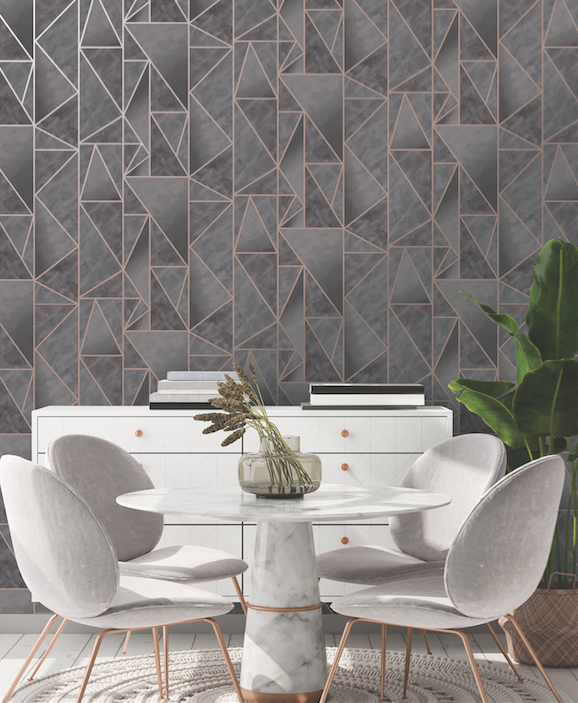 Dark grey geometric wallpapers such as this rose gold and charcoal design with the funky geometric angles.