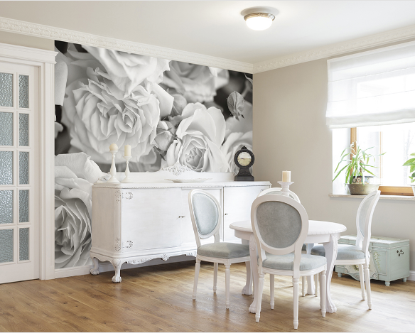 Grey Petals fancify wall mural