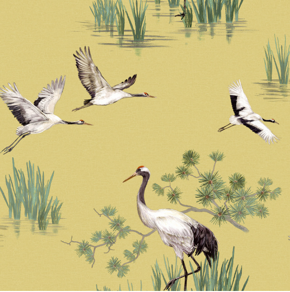 Green, orange, and brown coloured background with painted flying and standing cranes.