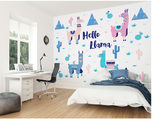 This cute Hello Llama wall  mural has soft pink, green, and blue colours with the use of quirky llamas, cactus and mountains.