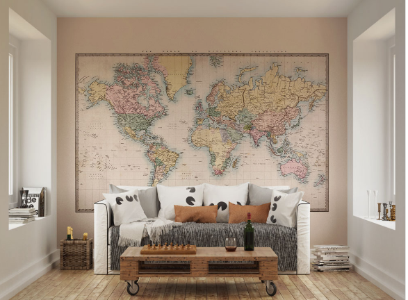 This this historic world map wall mural with soft colours is a great design that covers the enitre world map.