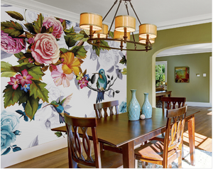 Hummingbirds, flowers and bright colours on a white background make this Hummingbird Garden Wall Mural design a great choice for any dining room or kitchen.