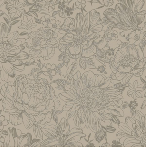 This floral patterned wallpaper is brown in colour and has gorgeous flowers.