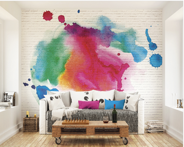 Ink Splattered Bricks Ready Made Wall Mural