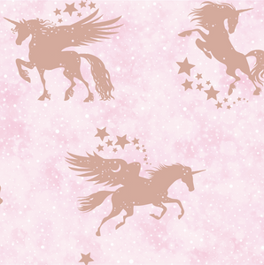 Rose Gold unicorns with pretty little stars on a soft pink background makes for a gorgeous wallpaper choice for any little girl's room.