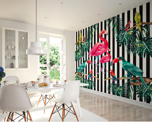 Bold black and white stripes with the bright colours of Tropical leaves, flamingoes and birds makes for a great statement as a feature wall. Perfect for a modern hallway wallpaper.