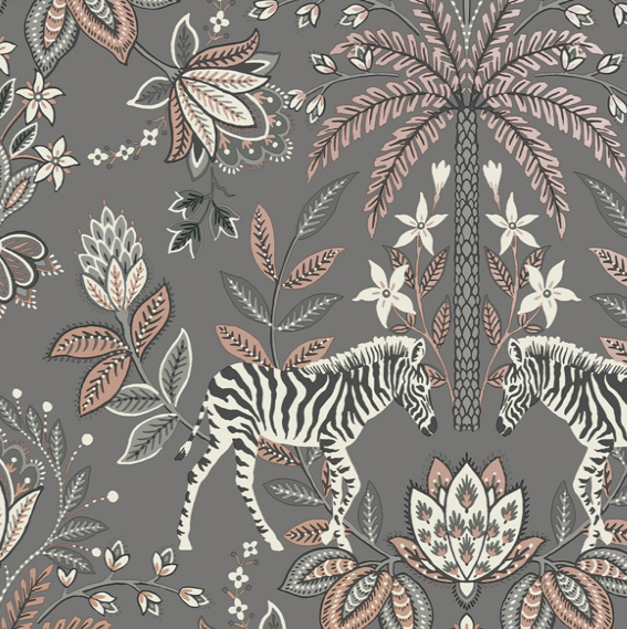 This jacobean damask wallpaper in grey is funky with the pair of zebras, palm trees, and leaves on a jacobean damask pattern.