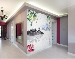 Watercolur mountains, blossoms, and greenery make for a very peaceful scene in this Japanese wallpaper design.