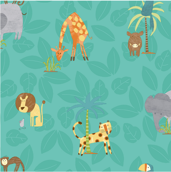 Soft leaf background with jungle animals and trees