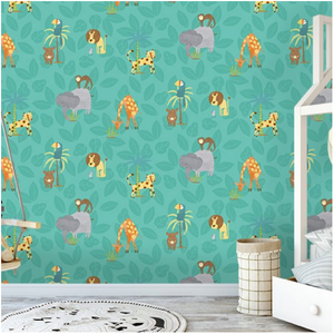 Jungle Fun Teal Wallpaper