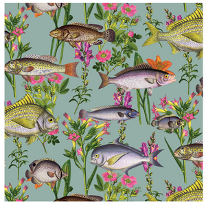 Colourful fish intwined with florals on a teal background.