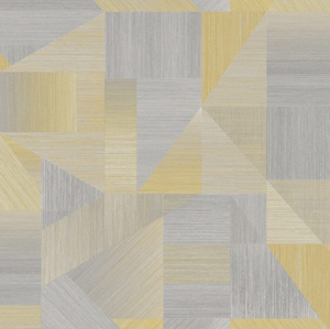 This yellow and grey wallpaper design with sharp lines and geometrics is striking and very effective as a wall covering. Ideal for Bedrooms and Living Rooms.