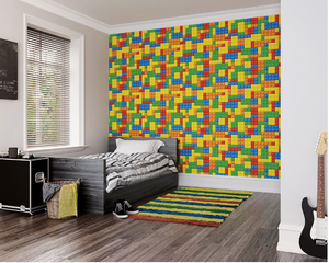 Brightly coloured lego pieces in all shapes and sizes id a firm favourite as a lego brick wallpaper bedroom walls design.