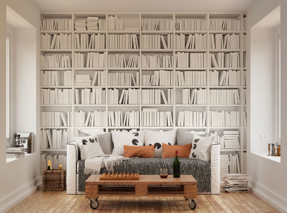 A clever take on a white colour palette and books stacked neatly on library isles.
