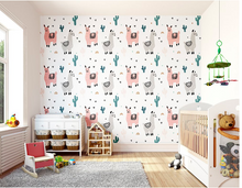 Pink Llamas, grey llamas and green cactus plants make up this sweet and fun LLama wallpaper mural design.