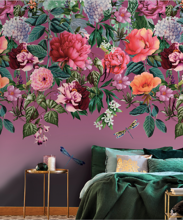 Majorelle berry wall mural is so delightful and will add charm and class with gorgeous colours of roses and flwers on a warm berry background. Ideal for entrance room or bedroom.