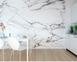 This textured, white,grey marble wall mural design adds elegance and finesse to any room.