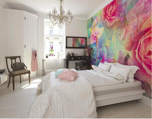 This colourful, patterned wall mural with the beautiful roses makes for an elegant bedroom wallpaper.