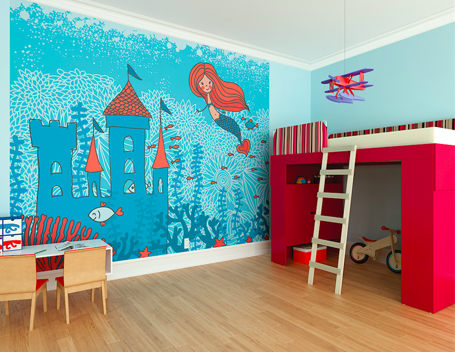 This bright, fun mermaid wallpaper is so cute with it's bright orange and blue colours. Featuring a castle, mermaid , fish and and underwater scene this makes any girl's room very magical.