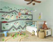 This enchanting pastel coloured Mini Adventure Wall Mural with road tracks, cars, hot air balloons, and duck ponds takes your little one on any adventure their imagination wishes to go on!