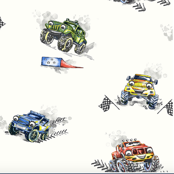Monster Trucks with ramps and flags in bright colours.