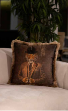 Mr Tiger Velvet Cushion