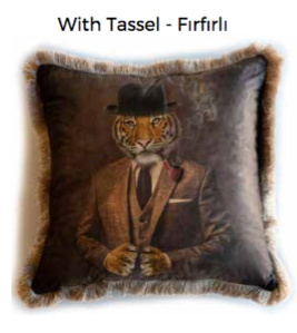 Mr Tiger cushion with tassel
