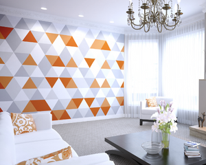 This stunning design utilising bold pattern and colour is so much fun with the orange and grey triangle patterns. This Orange Geometric Wall Mural is a bold and bright addition to any wall.