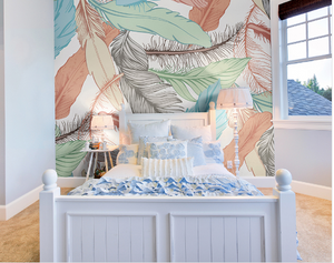 Pastel Feathers Ready Made Wall Mural